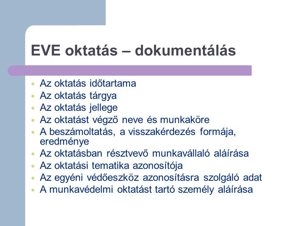 EVE oktatás – dokumentálás