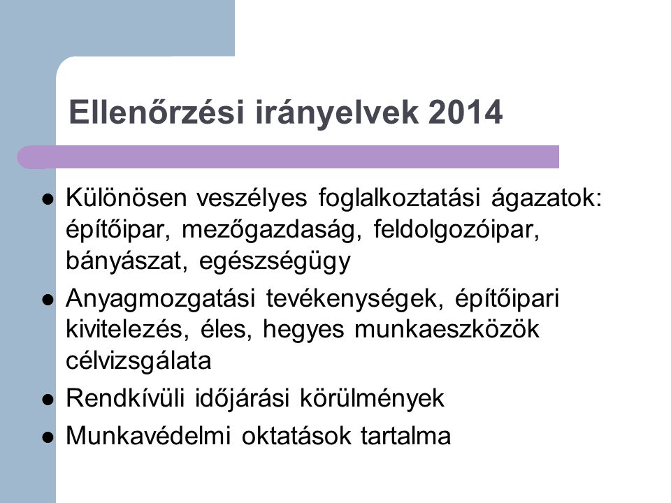 Ellenőrzési irányelvek 2014