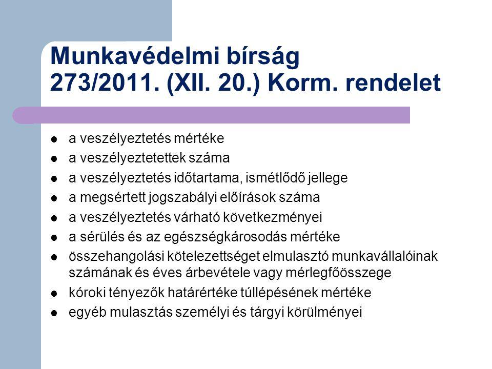 Munkavédelmi bírság 273/2011. (XII. 20.) Korm. rendelet