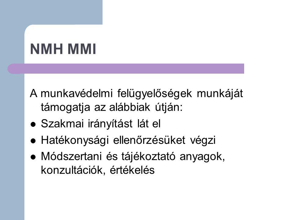 NMH MMI A munkavédelmi felügyelőségek munkáját támogatja az alábbiak útján: Szakmai irányítást lát el.