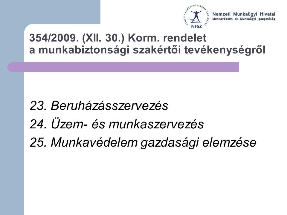 354/2009. (XII. 30.) Korm. rendelet a munkabiztonsági szakértői tevékenységről