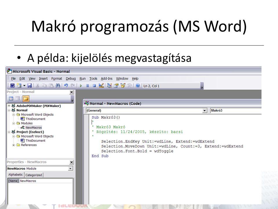 Makró programozás (MS Word)