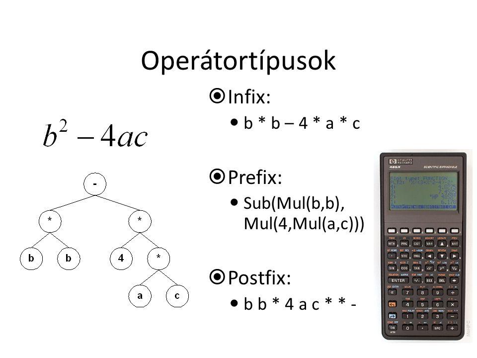 Operátortípusok Infix: Prefix: Postfix: b * b – 4 * a * c