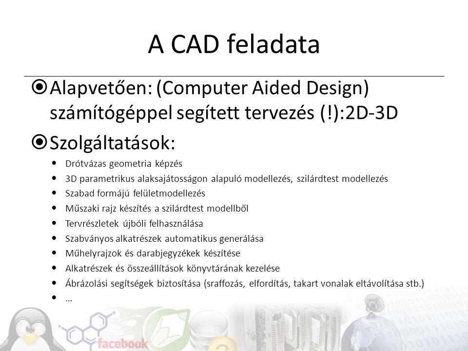 A CAD feladata Alapvetően: (Computer Aided Design) számítógéppel segített tervezés (!):2D-3D. Szolgáltatások: