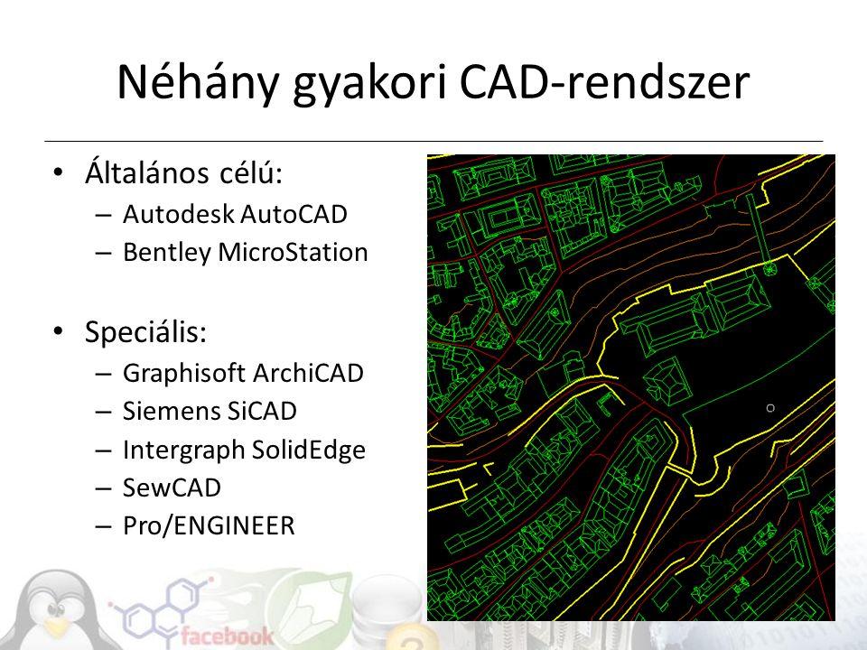 Néhány gyakori CAD-rendszer
