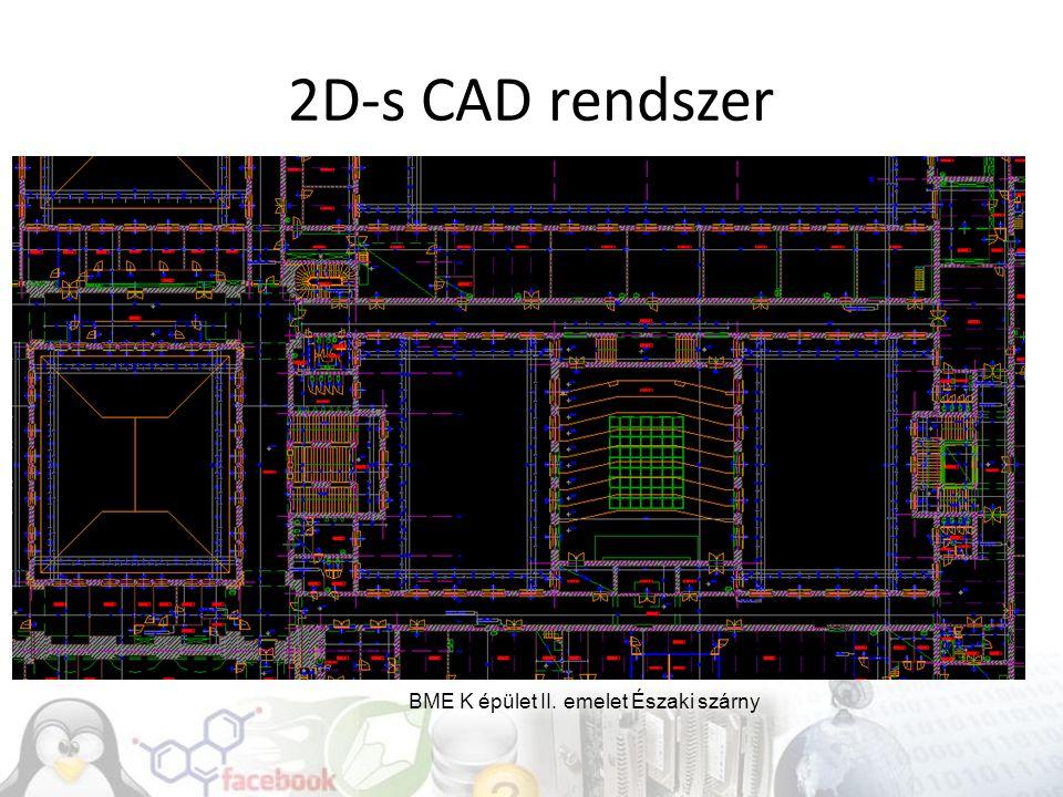 2D-s CAD rendszer BME K épület II. emelet Északi szárny