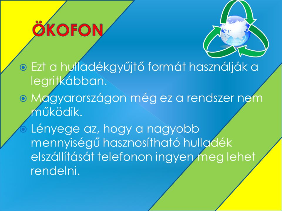ÖKOFON Ezt a hulladékgyűjtő formát használják a legritkábban.
