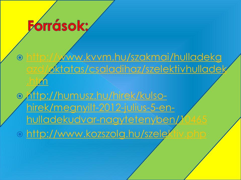Források: http://www.kvvm.hu/szakmai/hulladekgazd/oktatas/csaladihaz/szelektivhulladek.htm.