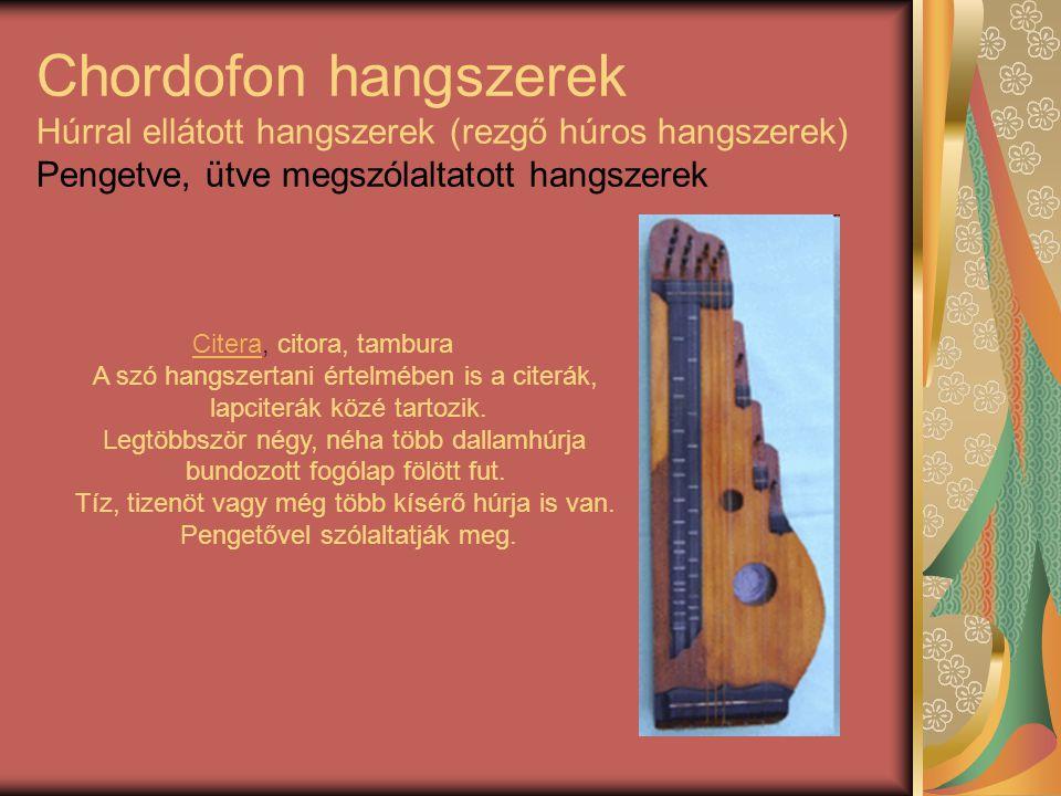 Chordofon hangszerek Húrral ellátott hangszerek (rezgő húros hangszerek) Pengetve, ütve megszólaltatott hangszerek
