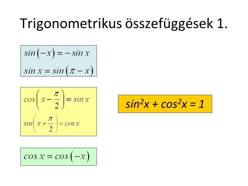 Trigonometrikus összefüggések 1.