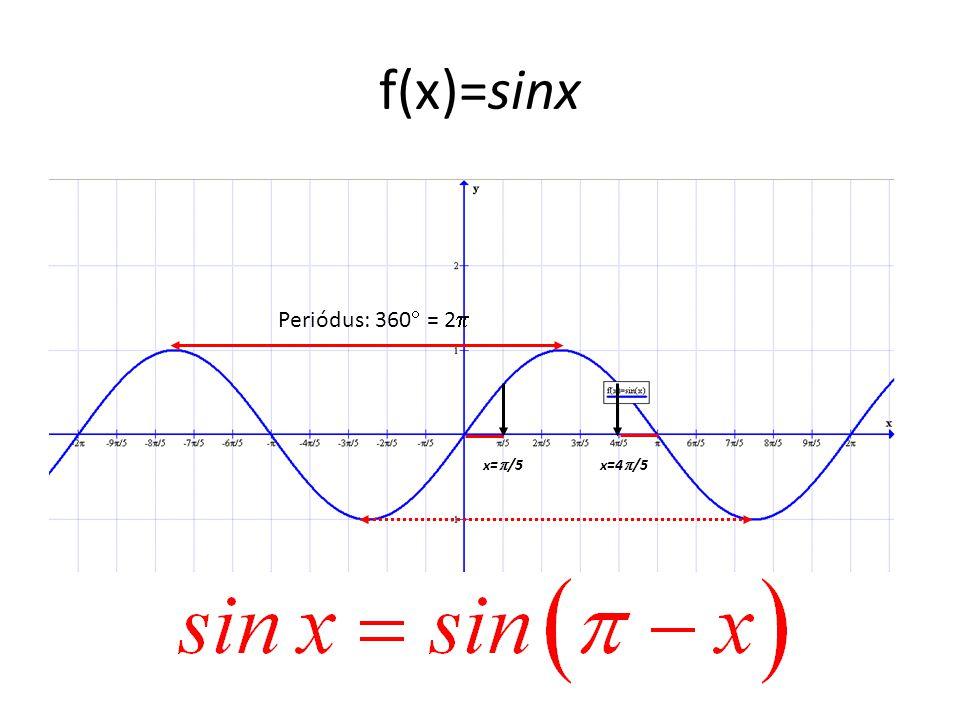 f(x)=sinx Periódus: 360 = 2 x=/5 x=4/5