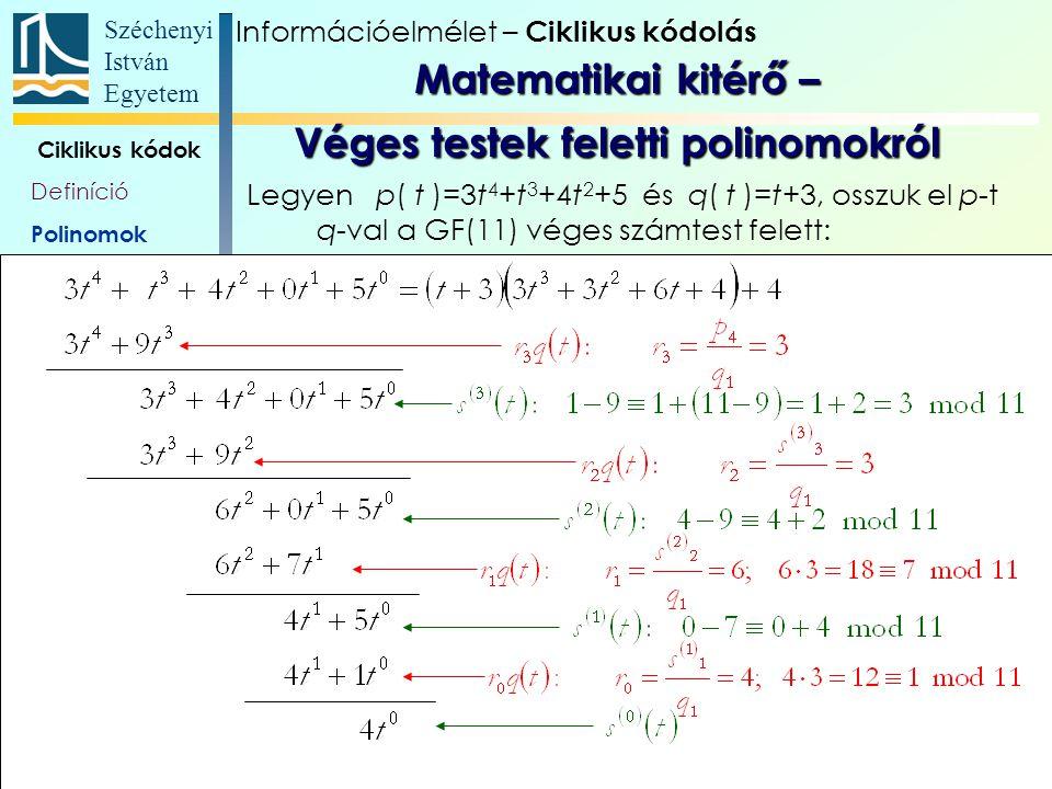 Matematikai kitérő – Véges testek feletti polinomokról