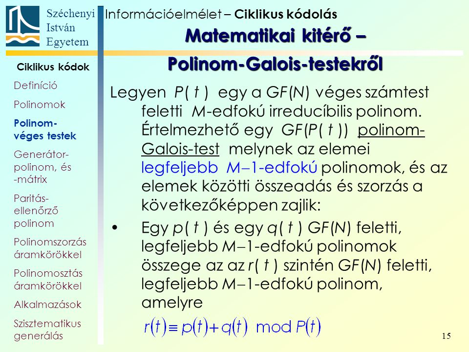 Matematikai kitérő – Polinom-Galois-testekről