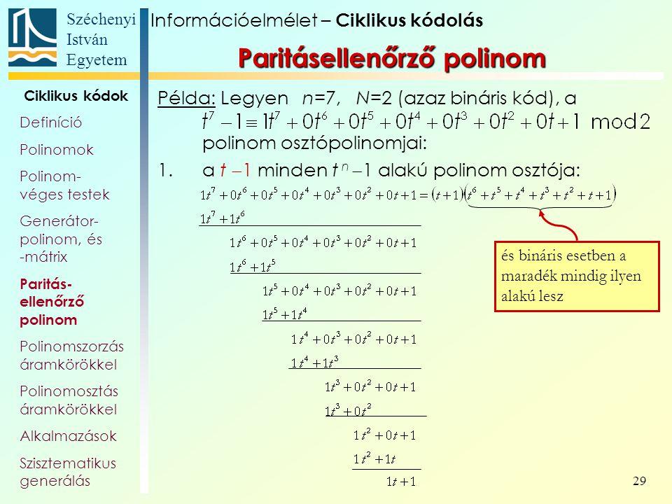 Paritásellenőrző polinom