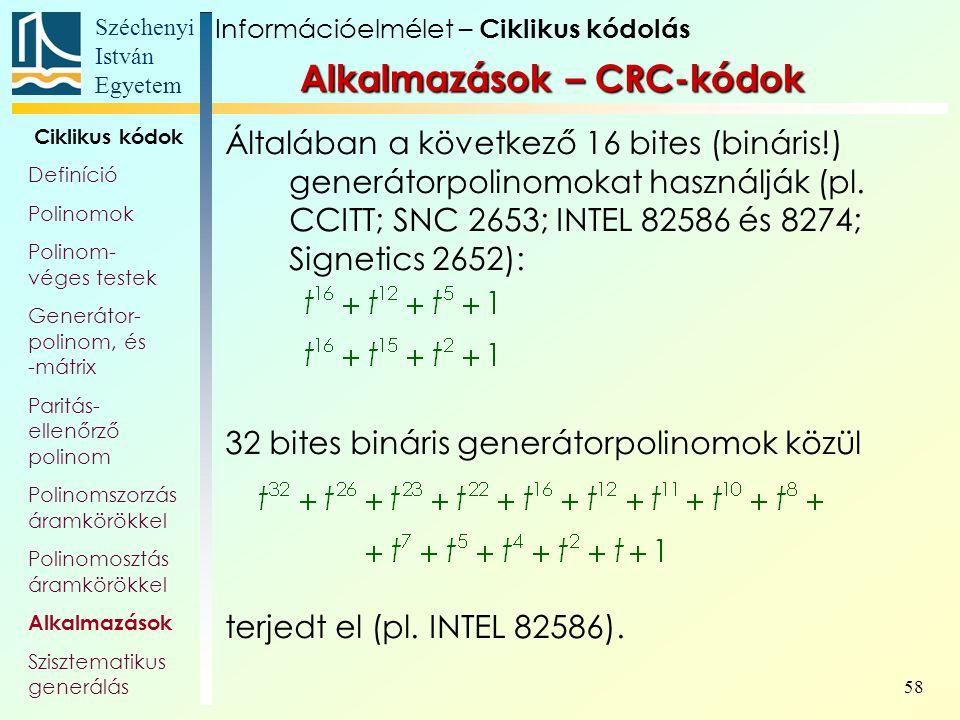 Alkalmazások – CRC-kódok