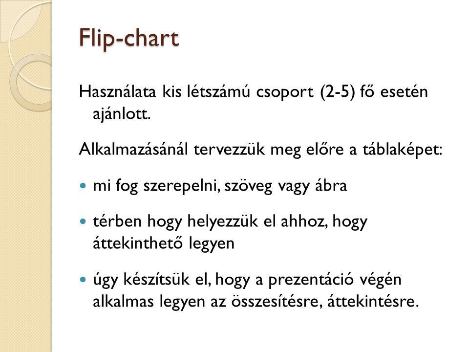 Flip-chart Használata kis létszámú csoport (2-5) fő esetén ajánlott.