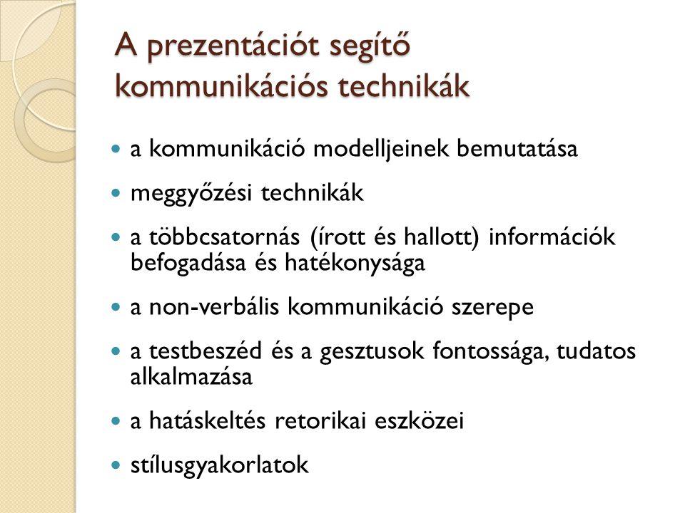 A prezentációt segítő kommunikációs technikák