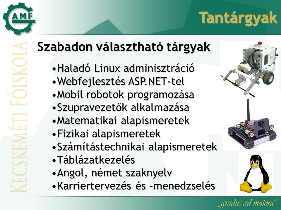 Tantárgyak Szabadon választható tárgyak Haladó Linux adminisztráció