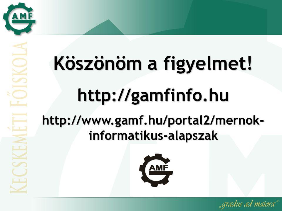 Köszönöm a figyelmet! http://gamfinfo.hu
