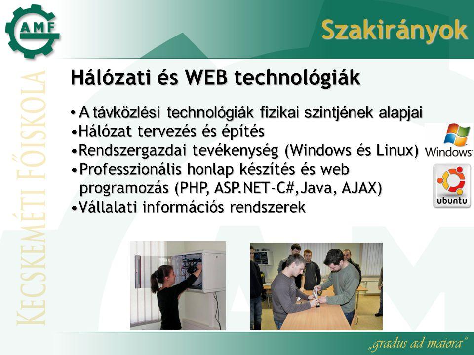 Szakirányok Hálózati és WEB technológiák