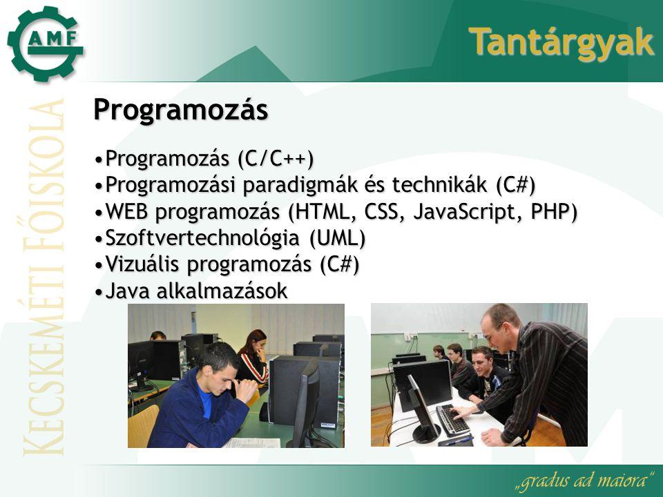Tantárgyak Programozás Programozás (C/C++)