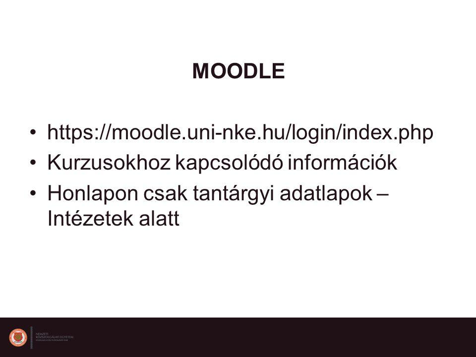 MOODLE https://moodle.uni-nke.hu/login/index.php. Kurzusokhoz kapcsolódó információk.