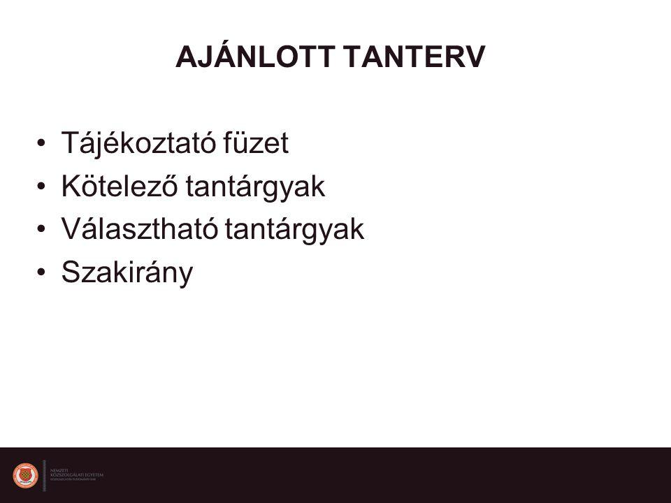 AJÁNLOTT TANTERV Tájékoztató füzet Kötelező tantárgyak Választható tantárgyak Szakirány