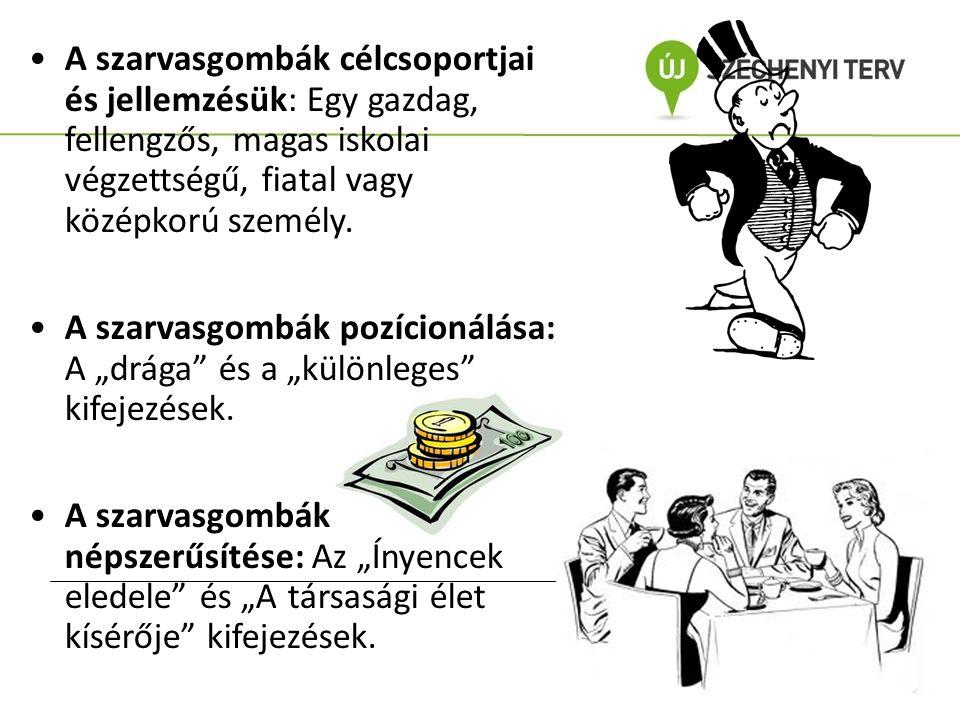 A szarvasgombák célcsoportjai és jellemzésük: Egy gazdag, fellengzős, magas iskolai végzettségű, fiatal vagy középkorú személy.