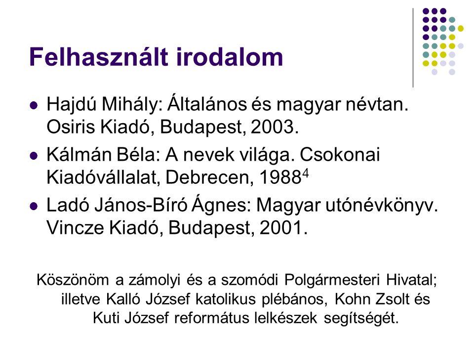 Felhasznált irodalom Hajdú Mihály: Általános és magyar névtan. Osiris Kiadó, Budapest, 2003.