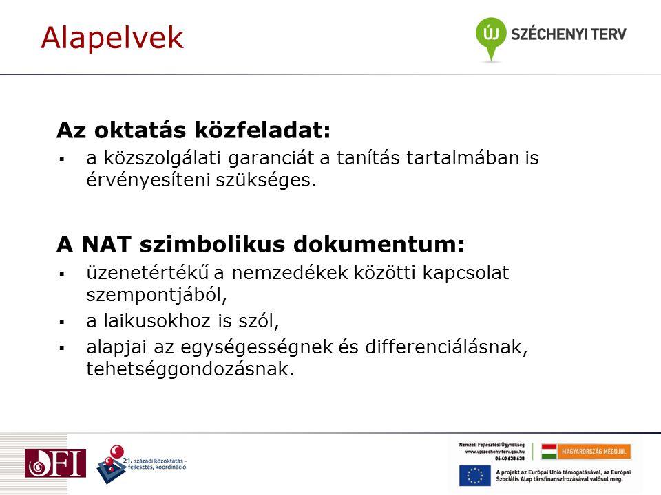 Alapelvek Az oktatás közfeladat: A NAT szimbolikus dokumentum: