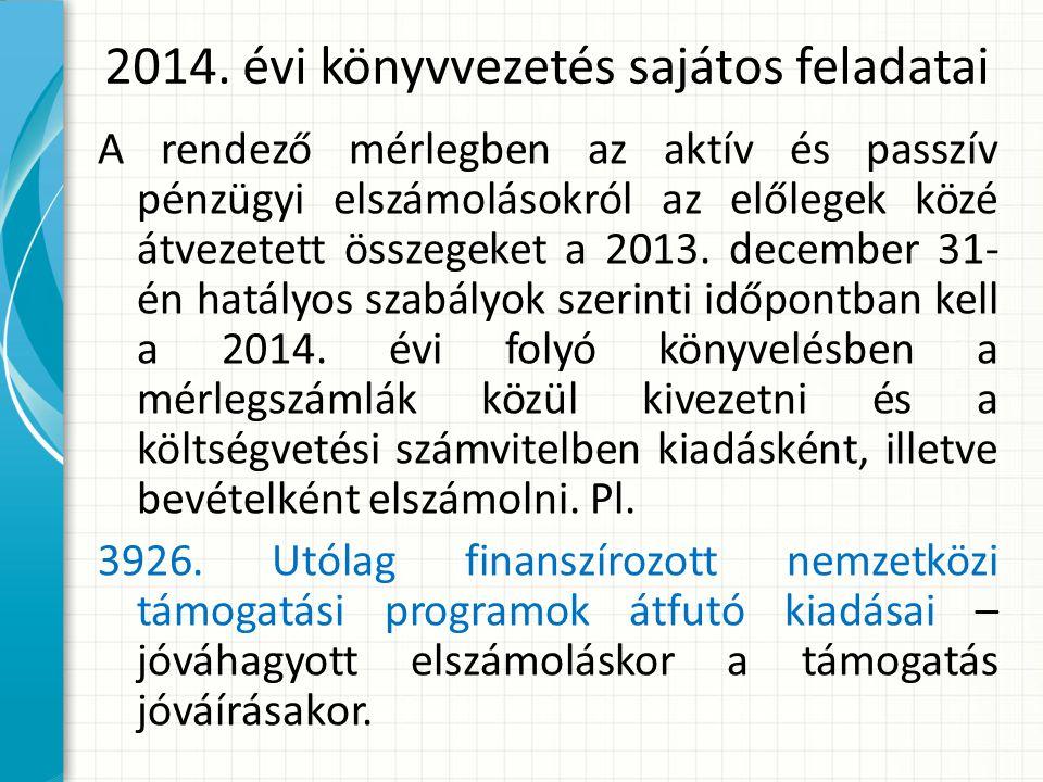 2014. évi könyvvezetés sajátos feladatai