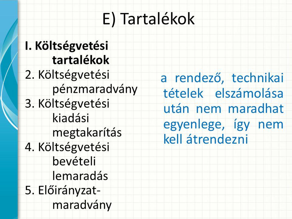 E) Tartalékok