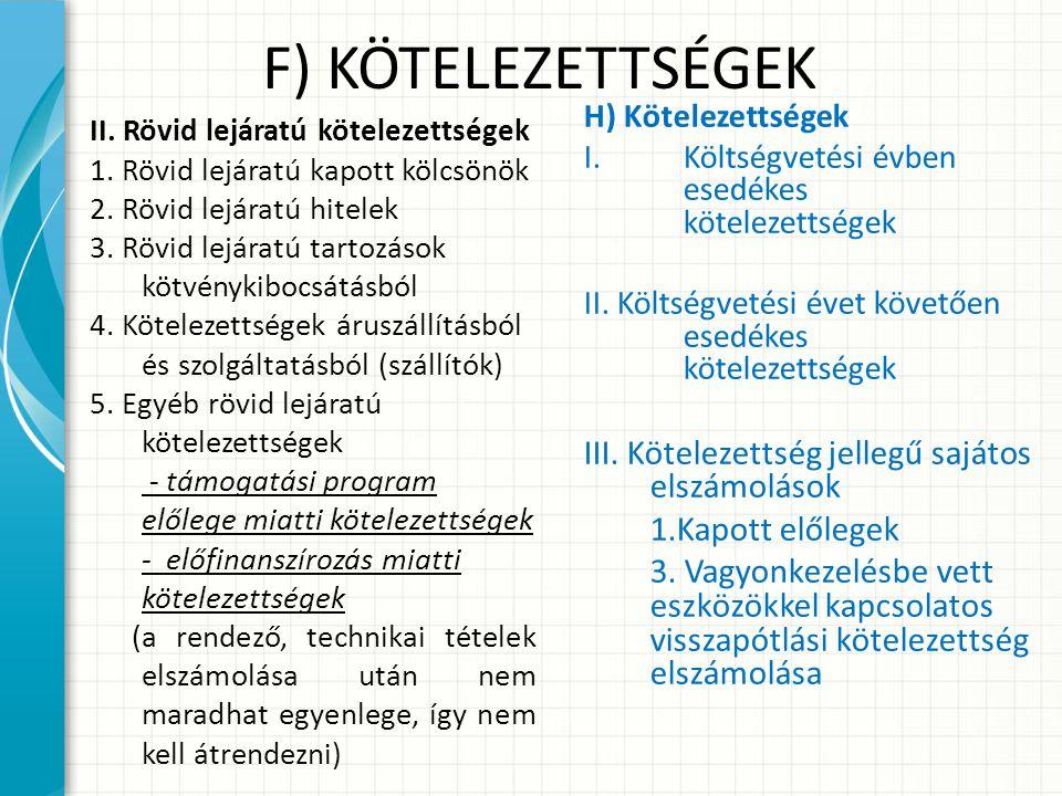 F) KÖTELEZETTSÉGEK III. Kötelezettség jellegű sajátos elszámolások