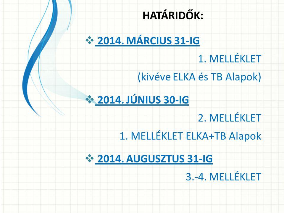 HATÁRIDŐK: 2014. MÁRCIUS 31-IG 1. MELLÉKLET (kivéve ELKA és TB Alapok)