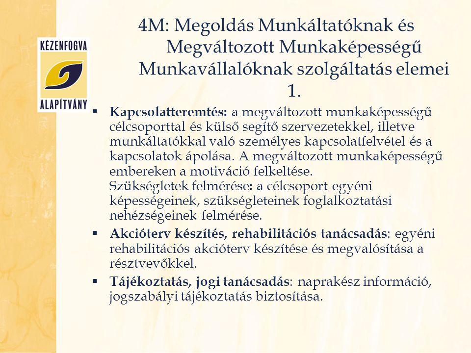 4M: Megoldás Munkáltatóknak és Megváltozott Munkaképességű Munkavállalóknak szolgáltatás elemei 1.