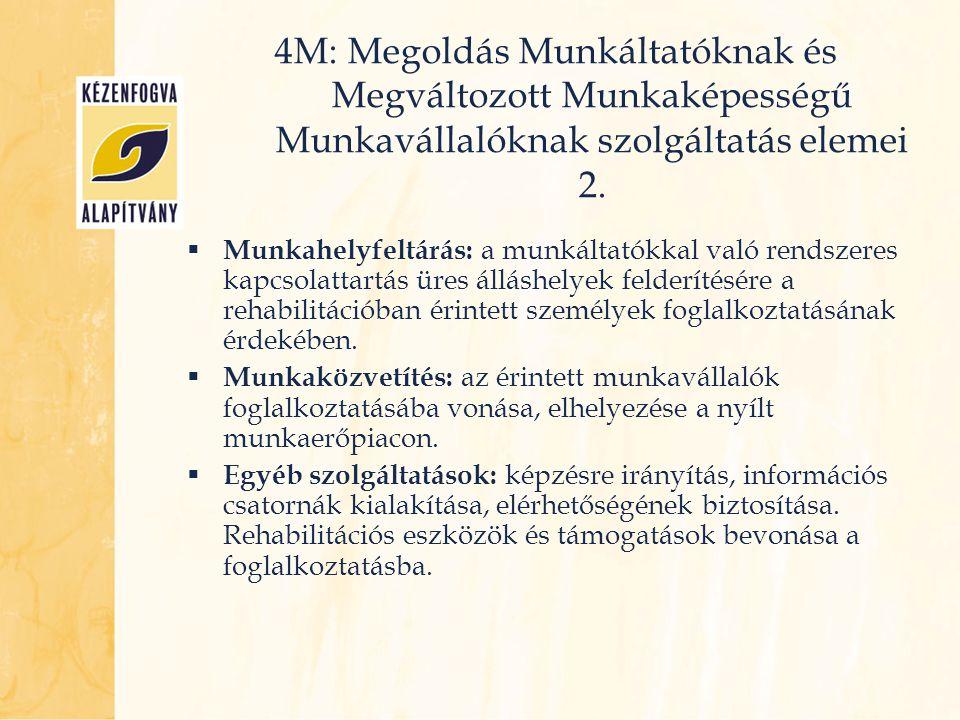 4M: Megoldás Munkáltatóknak és Megváltozott Munkaképességű Munkavállalóknak szolgáltatás elemei 2.