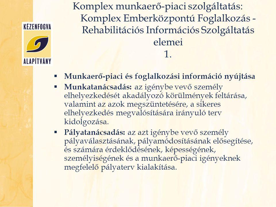 Komplex munkaerő-piaci szolgáltatás: Komplex Emberközpontú Foglalkozás - Rehabilitációs Információs Szolgáltatás elemei 1.