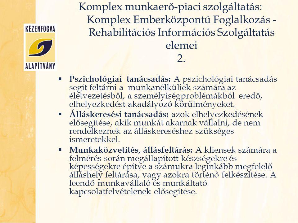 Komplex munkaerő-piaci szolgáltatás: Komplex Emberközpontú Foglalkozás - Rehabilitációs Információs Szolgáltatás elemei 2.