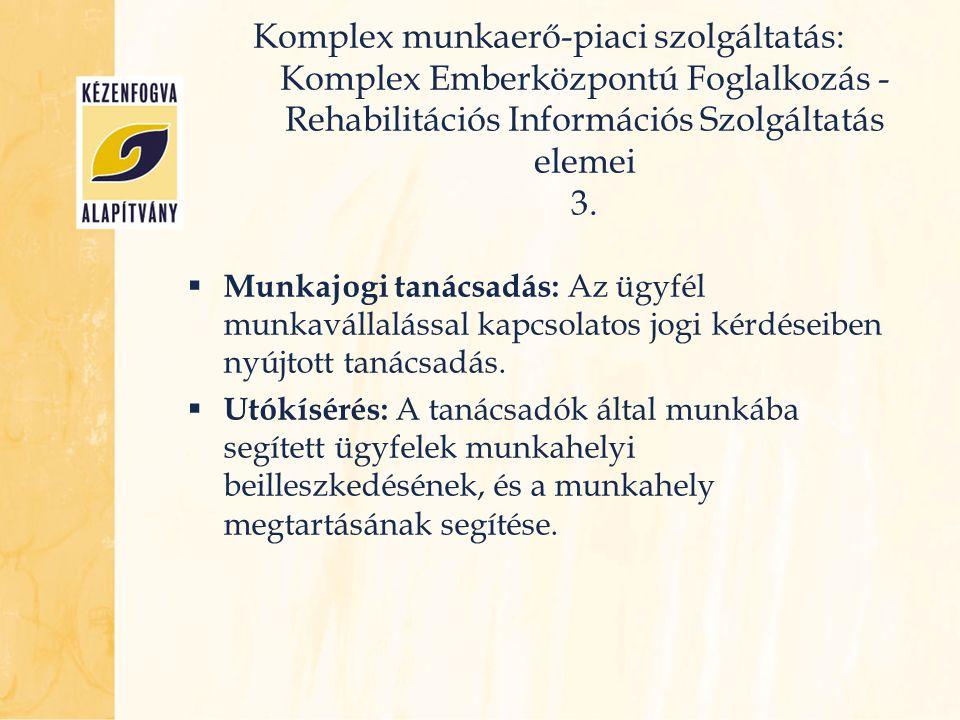Komplex munkaerő-piaci szolgáltatás: Komplex Emberközpontú Foglalkozás - Rehabilitációs Információs Szolgáltatás elemei 3.