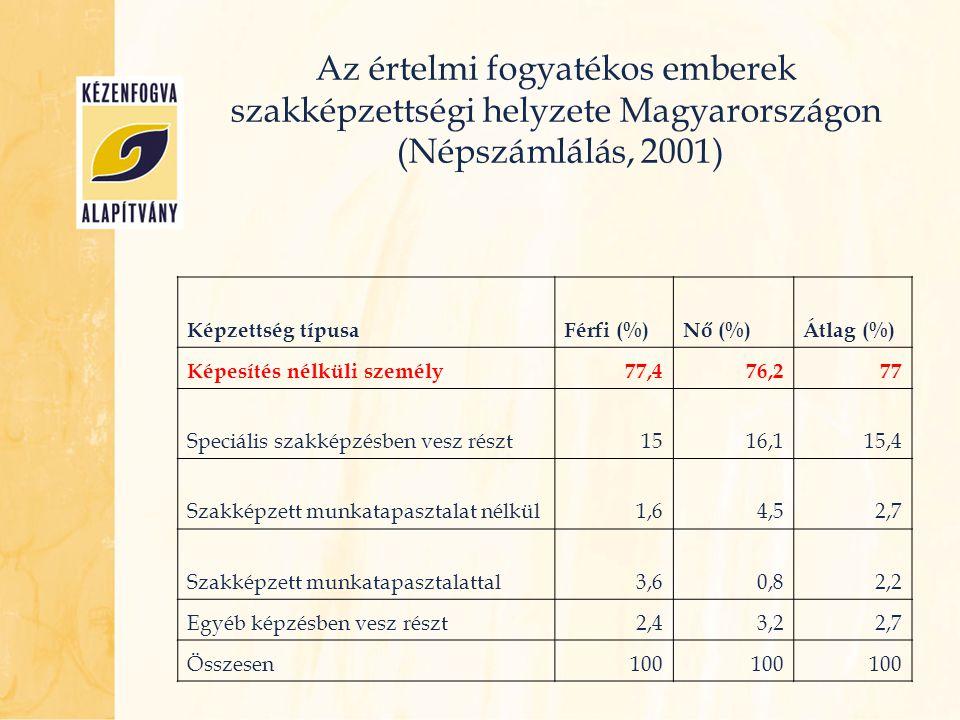 Az értelmi fogyatékos emberek szakképzettségi helyzete Magyarországon (Népszámlálás, 2001)