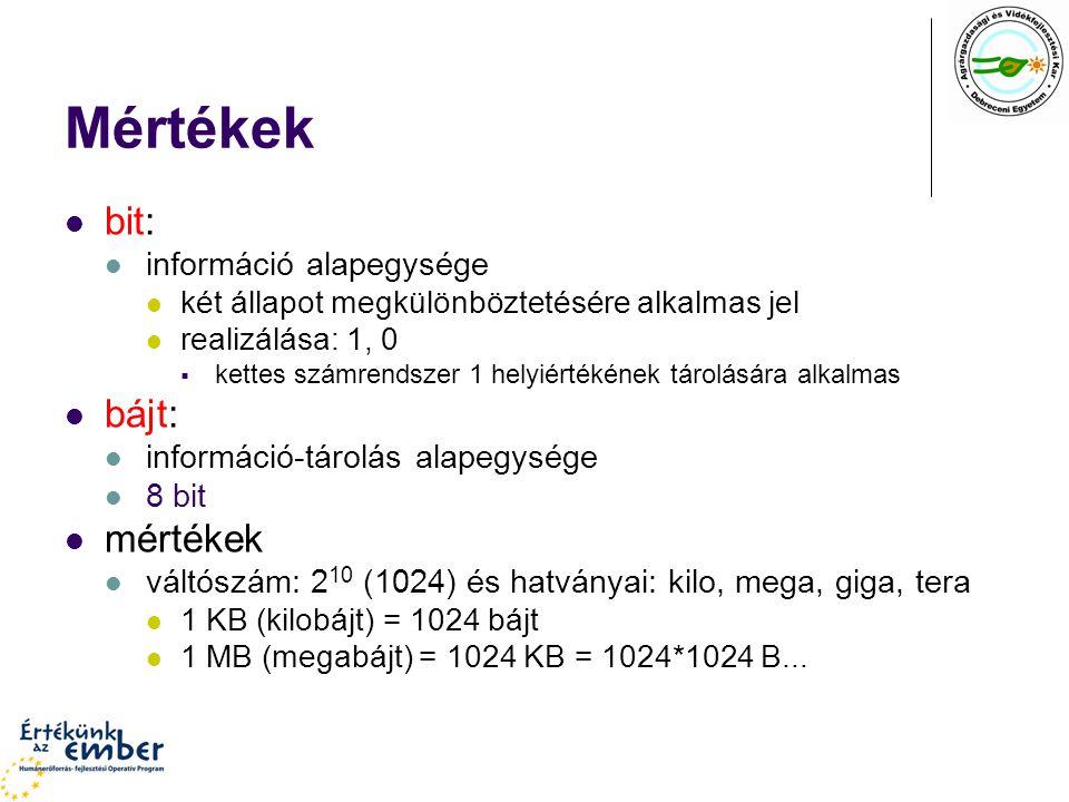 Mértékek bit: bájt: mértékek információ alapegysége
