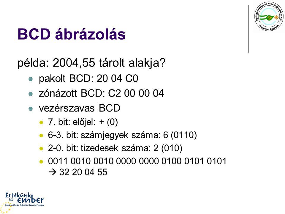 BCD ábrázolás példa: 2004,55 tárolt alakja pakolt BCD: 20 04 C0
