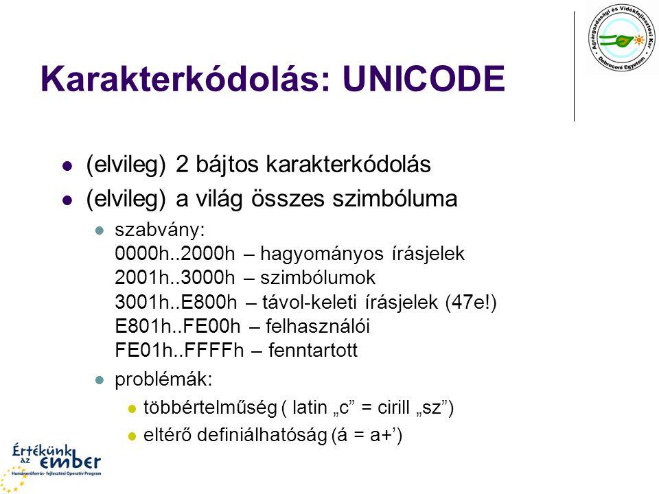 Karakterkódolás: UNICODE