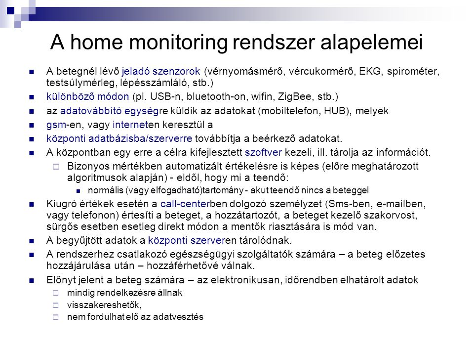 A home monitoring rendszer alapelemei