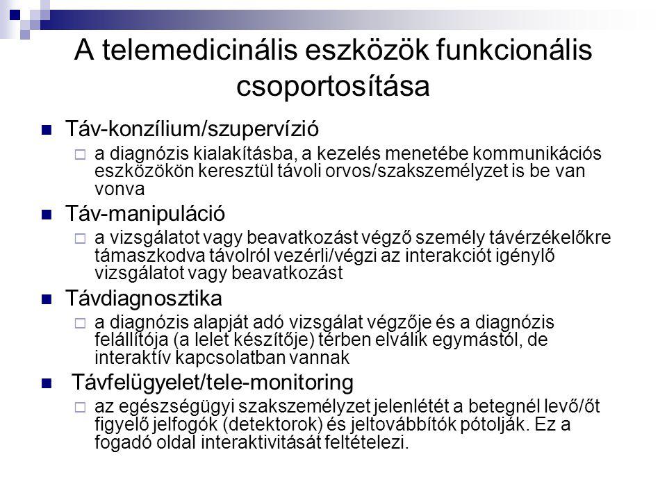 A telemedicinális eszközök funkcionális csoportosítása