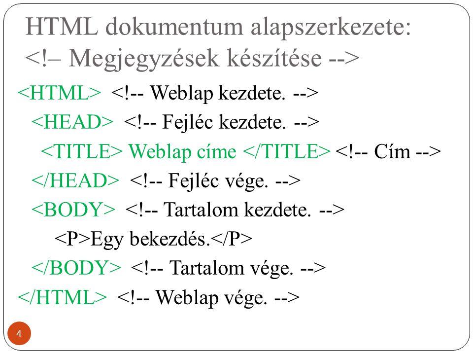 HTML dokumentum alapszerkezete: <!– Megjegyzések készítése -->