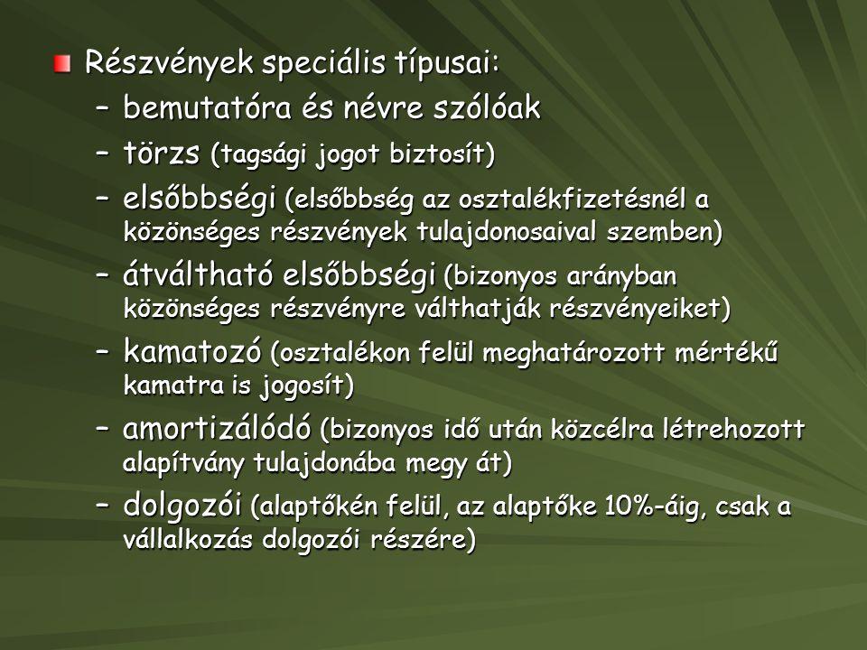 Részvények speciális típusai: