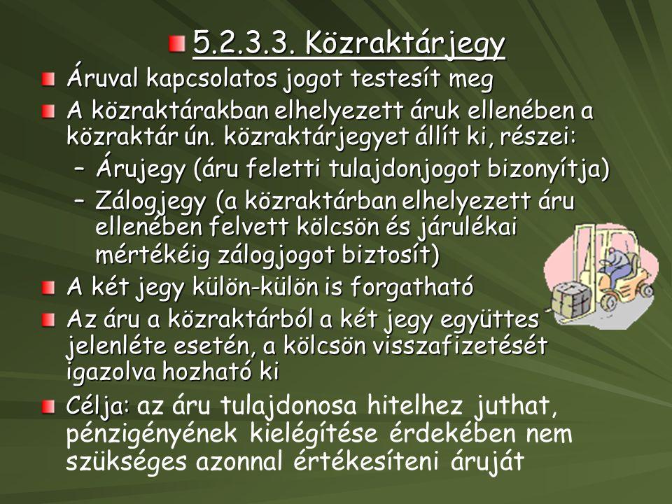 5.2.3.3. Közraktárjegy Áruval kapcsolatos jogot testesít meg