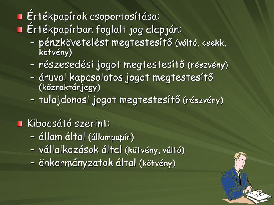 Értékpapírok csoportosítása: