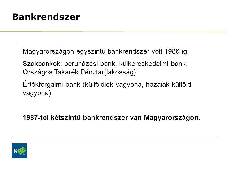 Bankrendszer Magyarországon egyszintű bankrendszer volt 1986-ig.